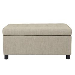 Adeco Fabric Sturdy Design Rectangular Tufted Lift Top Storage Ottoman Bench Footstool with Soli ...