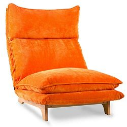 Orange Floor Sofa Chair Adjustable Folding Chaise Lounge Sleeper Video Gaming