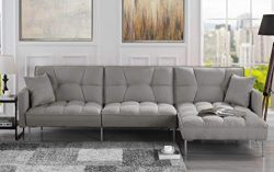 Casa Andrea EXP401-FB Modern Linen Fabric Futon Sectional Sofa, 110.6″ W inches (Light Grey)
