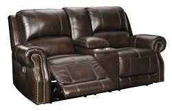 Signature Design by Ashley Buncrana Power Reclining Loveseat Console Adjustable Headrest Chocolate
