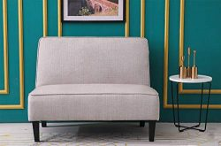 ANNJOE Cushioned Linen Loveseat Settee Upholstered Sofa Backrest Couch Banquette Bench for Dinin ...
