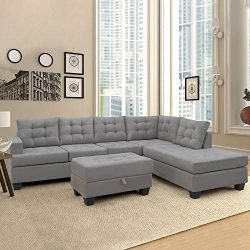 Romatpretty Modern Soft Combination Sofa, L-Shaped Sectional Interior,Fabric Linen, 5 Seat,Sofa  ...
