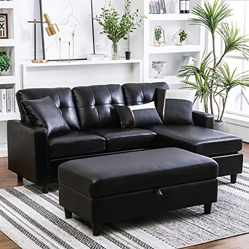 HONBAY Convertible Sectional Sofa with Ottoman L Shape Sleeper Sofa with Ottoman Faux Leather Co ...