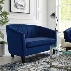 Modway Prospect Channel Tufted Upholstered Velvet Loveseat, Navy