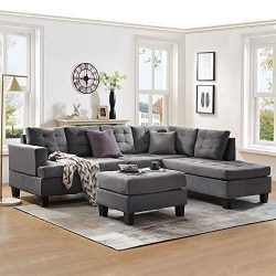 Harper & Bright Designs Sofa Sectional Sets 3-seat with Chaise Lounge and Ottoman Living Roo ...
