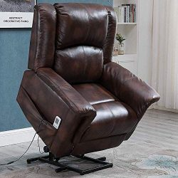 Dnyker Power Lift Massage Recliner Chair for Elderly with Remote Control,Heat and Vibration,PU S ...
