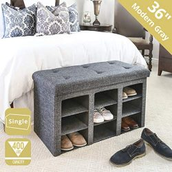 Seville Classics WEB591 9-Bin Foldable Tufted Shoe Storage Ottoman Bench Trunk End-of-Bed Stool, ...