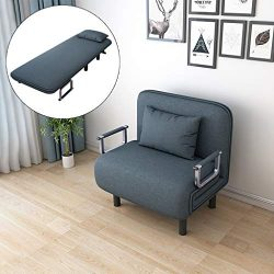 Convertible Sofa Bed, Foldable Sofa Chair with Armrest, Sleeper Couch Sofa Fold Out Bed, Down Re ...