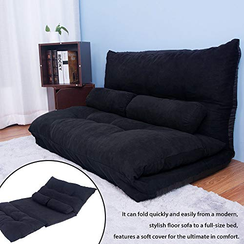 Foldable Floor Sofa Bed, Sleeper Sofa Bed Lounge Couch Living Room Sofa (Matte Black)