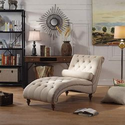 Rosevera TeofilaTufted Chaise Lounge Chair, Ivory