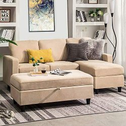 HONBAY Sectional Sofa with Ottoman L Shaped Couch Sleeper with Storage Ottoman Sectional Sofa wi ...