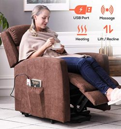 ERGOREAL Power Lift Chair for Elderly Fabric Lift Recliner with Heat and Massage Infinite Positi ...
