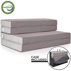 Best Choice Products 4in Thick Folding Portable Queen Mattress Topper w/ Bonus Carry Case, High- ...