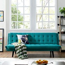 Modway Glance Mid-Century Modern Upholstered Fabric Convertible Futon Sofa Bed Couch In Teal