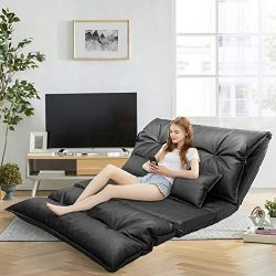 Floor Sofa Bed, Floor Pillow Bed, Black Leather Floor Sofa, Adjustable Floor Couch and Sofa with ...
