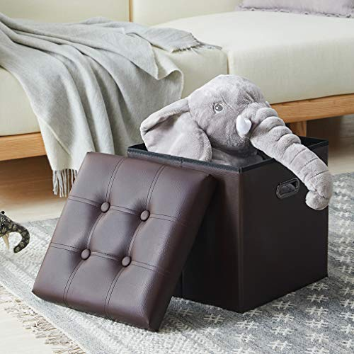 YOUDENOVA 15 inches Storage Ottoman Cube with Metal Handles, Step Foot Rest Stool, Foam Padded S ...