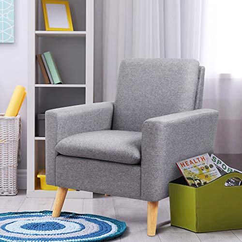 Shintenchi Modern Accent Chair, Linen Single Sofa Fabric Accent Arm Chair with Solid Wood Legs,  ...
