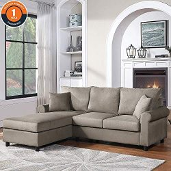 Sectional Sofa Couch, Living Room Sofa Sets 2PCS Sectional Sofa for Living Room Furniture