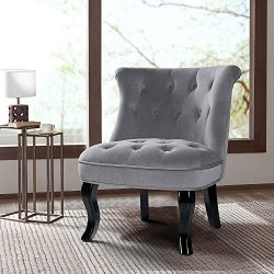 Grey Upholstered Chair/Jane Tufted Velvet Armless Accent Chair with Black Birch Wood Legs for Sm ...