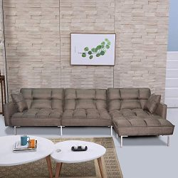 DERCASS Modern Design L-Shaped Couch Sectional Sofa Sleeper Fabric Convertible Sectional Sofa Co ...