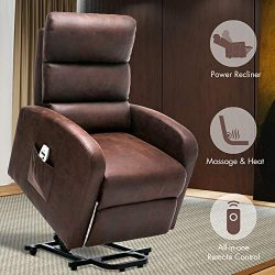 Orimoster Power Lift Recliner Chair with Massage and Heat for Seniors Chocolate, Ergonomic Elect ...
