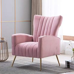 Artechworks Curved Tufted Accent Chair with Metal Gold Legs Velvet Upholstered Arm Club Leisure  ...