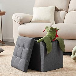 YOUDENOVA 15 inches Folding Storage Ottoman, Cube Storage Boxes Footrest Step Stool, Padded Seat ...