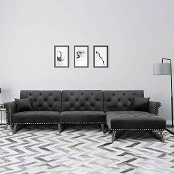 Romatlink L Shape Bed Sectional Sofa Chaise Button Tufted Couch with 2 Pillows, Silver Nailhead  ...