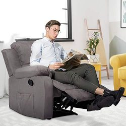 Recliner Chair with Heating Function, Adjustable Reclining Backrest, Extended Leg Rest, Side Poc ...