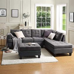 Lovorsofat Green Grey Sofa Sectional 3-Piece Sofa Sets with Chaise Lounge and Ottoman Sofa and C ...