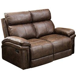 Romatpretty Leather Sofa Reclining Loveseat Seat 2 Recliner Couch Living Room Movable Extra Stro ...