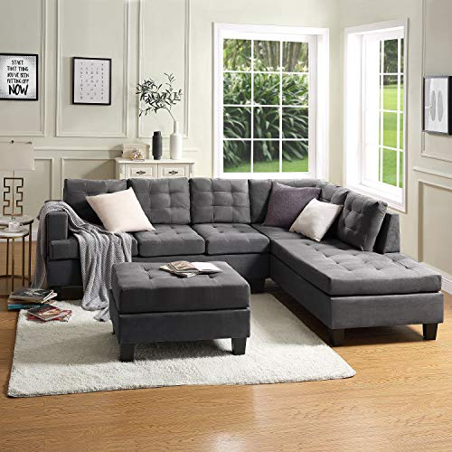 Civil Furniture Sectional Sofas for Living Room 3-Seat Sofa Set with Chaise Lounge and Storage O ...