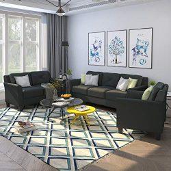 Harper & Bright Designs Living Room 3 Piece Sofa Couch Set,3 Seats Loveseat Single Chair Sec ...