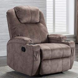 CANMOV Recliner Chair with 2 Cup Holders, Manual Ergonomic Recliner for Living Room Chair Home T ...