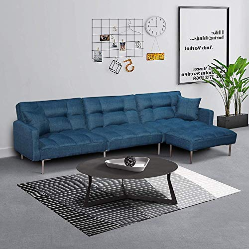 Depointer Living Room Tufted Splitback Sleeper Plush Couch Furniture/Sectional Futon Sofa Bed wi ...