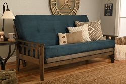 Kodiak Furniture KF Tucson Full Size Futon Set in Rustic Walnut Finish, Suede Navy