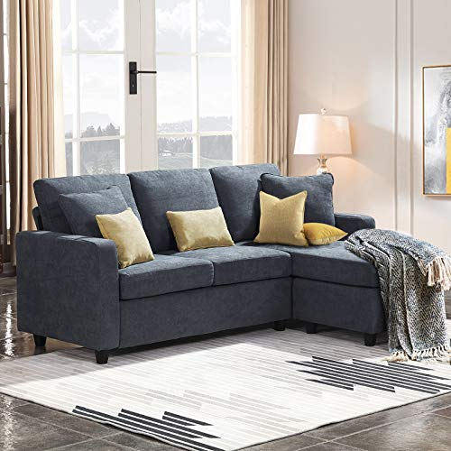 HONBAY Convertible Sectional Sofa Couch Small L Couch with Reversible Chaise Linen Fabric Sofa f ...