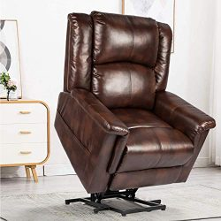 YODOLLA Electric Power Lift Chair Massage&Heat Recliner Chair, PU Leather Recliner for Elder ...