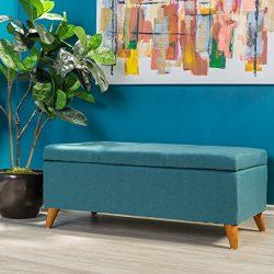 GDF Studio Etoney Mid Century Modern Fabric Storage Ottoman (Teal)