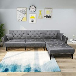 Mid Century Upholstered Sectional Sofa Futon Couch with Reversible Chaise with Adjustable Back S ...