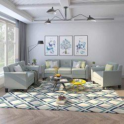 Harper & Bright Designs 3 Pieces Living Room Sets, Living Room Furniture Sofa Set Include Ar ...