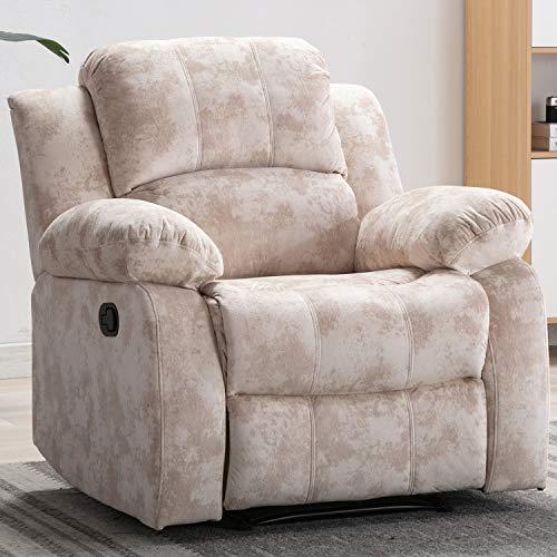 Bonzy Home Air Velvet Recliner Chair Overstuffed Heavy Duty Recliner – Velvet Fabric Home  ...
