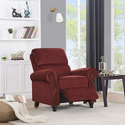 Domesis Cortez – Pebble Seude Push Back Recliner Chair, Burgundy Red
