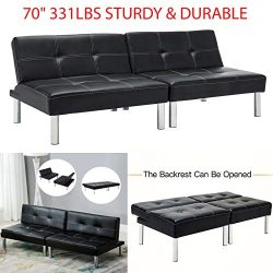 70″ 331Lbs Sturdy & Durable Sleeper Sofa Bed Convertible Leather Couch Adjustable Livi ...