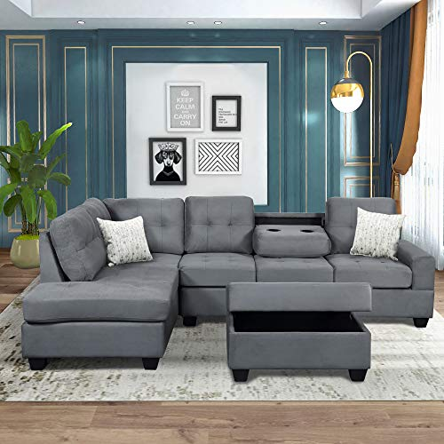 Merax Sectional Sofas 3-Seat Living Room Sofa Sets with Chaise Lounge and Ottoman (Grey)