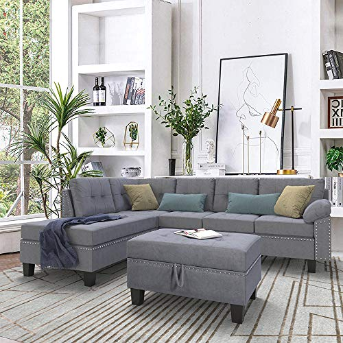 Romatpretty Linen-Like Polyfabric Left or Right Hand Chaise Sectional Set Lounge and Storage Nai ...