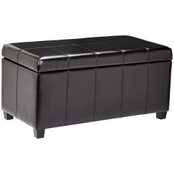 First Hill Damara Lift-Top Storage Ottoman Bench with Faux-Leather Upholstery, Jet Black