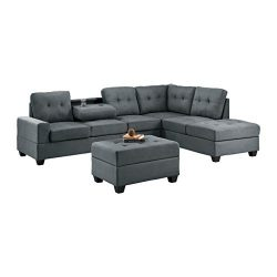 Homelegance Fabric Sectional Sofa and Ottoman Set, Dark Gray