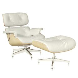 Chair and Ottoman, Modern Lounge Chair Cream White Leather Ashwood Chair Living Room Furniture S ...
