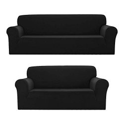 Sapphire Home 2pc SlipCover Set for Sofa Loveseat Couch, Form fit Stretch & Wrinkle Free, Fu ...